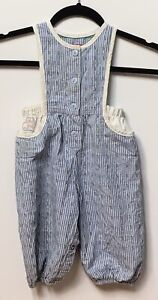 Vintage Toddler's Oshkosh Cat & Floral Denim Overalls Sz 18 Mo.