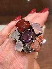 Sterling Silver & Multi Semi Precious Stone Coral Amethyst Moonstone Ring NWT