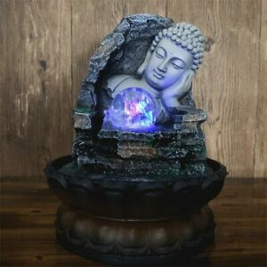 Resin Water Fountain Ornaments Office Sleeping Buddha Lotus Base Home Decoration