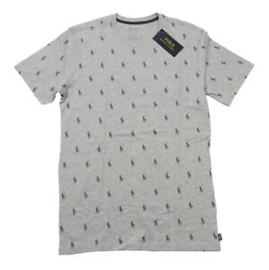 Polo Ralph Lauren Men's Grey All Over Pony Logo Graphic Crew-Neck Sleep T-Shirt