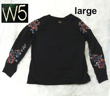 Anthropologie W5 black floral embroidery shirt top 3/4 sleeves size Large