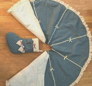 "Christmas Tree Skirt, 47.5"" Diam, Plus Matching Stocking,Cotton, Light Blue"