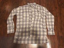 ABERCROMBIE & FITCH White & Gray Plaid Long Crisp Cotton Tunic Shirt L LARGE