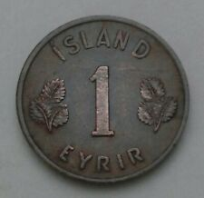 Iceland 1 Eyrir 1946. KM#8. One Cent Penny coin. Island. Bronze First year issue