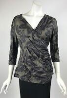Criss-Cross Top Tunic Blouse 3/4 Sleeves Elana Kattan NWT