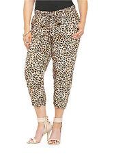 Torrid Cropped Leopard Animal Print Smocked Waist Soft Pants 0 12 Large L #80719