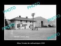 OLD 8x6 HISTORIC PHOTO OF MINA NEVADA THE RAILROAD DEPOT STATION c1930