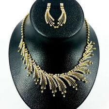 Crystal Gold Flame Rhinestone Necklace & Earring for Wedding, Bridal, Prom