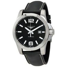 Longines Conquest Black Dial Black Leather Mens Watch L37604563