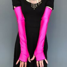 Long Pink Gloves Arm Warmers Fingerless Covers Shiny Costume Sleeves Spandex Psy