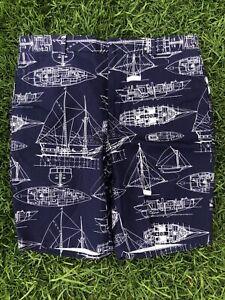 Gitman Bros Vintage Boat Ship Pattern Made USA Mens Blue White Cotton Shirts 34