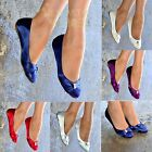 New Ladies ballet Shoes Womens Wedge satin pumps Evening flat Sandals size 30460