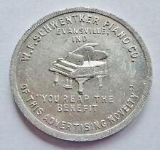 W.F. SCHWENTKER PIANO CO., EVANSVILLE, IN ~ GOOD FOR $10 ~ MERCHANT TRADE TOKEN