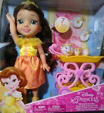 Disney Princess Tea Time Toddler Doll Belle & Tea Trolley & 7 Tea Trolley Pieces