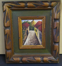 Vintage CityScape Oil Painting of Old town Street Wood Framed on panel