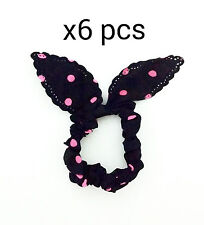 6 Hair Ties bow knot hairband ponytail Holder hair elastic band bunny scrunchie