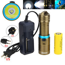 Underwater 120M 6000Lm XM-L2 LED Diving Flashlight Torch Light 26650+Charger