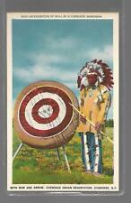 CHEROKEE INDIAN-BOW AND ARROW-CHEROKEE MARKSMAN-CHEROKEE N.C UNUSED LINEN NM