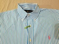 Mens Polo Ralph Lauren Dress Shirt L Large Blue Stripes Button Cotton