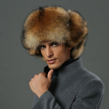 Male Female Real Fox Fur Hat Russian Warmer Ushanka Cossack Ski Earflap Cap