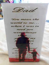 NEW - DAD GLASS DESK PLAQUE - Special Dad Gift - FREE Next Day Shipping!