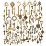 Set of 70 Antique Vintage Old Look Bronze Skeleton Keys Fancy Heart Bow Pendant