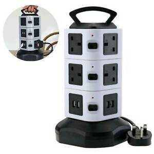 Tower Electric Mains Power Extension Lead 10 Socket 4 USB Port Adaptor Plug