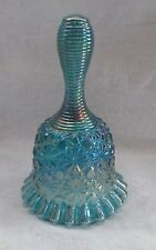FENTON TEAL BLUE CARNIVAL GLASS DAISY AND BUTTON BELL