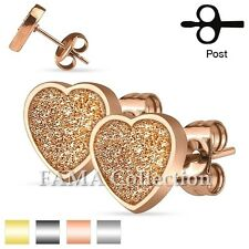 Cute FAMA Stainless Steel Love Heart Sand Glitter Stud Earrings Select Colour