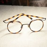 Vintage Round Circle Eyeglasses mens John Lennon Glasses light tortoise eyewear