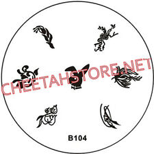 Stamping plaque pochoir B104 pour vernis Konad nail art
