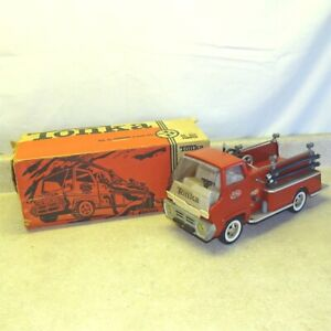 Vintage Tonka Fire Pumper Truck + Box, Pressed Steel Toy, Cab Over