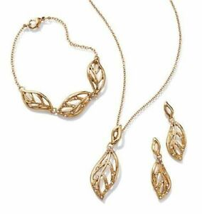 Avon Glimmering Leaves Embellished 3 Piece Gold Tone Gift Set - New in Box