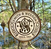 Smith & Wesson Round Vintage Metal Tin Sign Wall Decor Garage Shop Gift Under 20