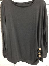 Women's, Long Sleeve, Tunic-T-Shirt, Loose Fit, Black, Round Neck, XXL