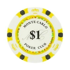 NEW 100 White Gold $1 Monte Carlo Smooth 14 Gram Clay Poker Chips - Exclusive