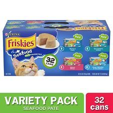 (32 Pack) Friskies Pate Wet Cat Food Variety Pack, Seafood Favorites, 5.5 oz. Ca