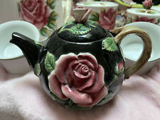 """Fitz and Floyd """"Midnight Rose"""" Teapot Hand Painted Made In Japan 1987 1 1/2 Qt"""