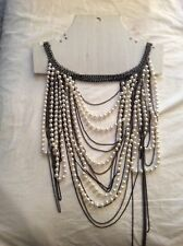 New Freedom at Topshop Silvertone Chains White Faux Pearl Multi-Strand Necklaces
