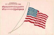 """Patriotic Postcard,U.S.Flag,""""My Country 'Tis of Thee"""",Embossed,Music,c.1901-06"""