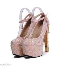 Women's High Block Heels Ankle Strap Shoes Glitter Platform Pumps UK Sz 1~8 D924