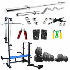 Fitfly 20 in 1 bench 80 Kg Weight With 5 Ft plain 3 ft Curl Rod With All Gym Acc