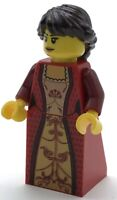Lego New Queen Castle Minifigure with Red Dress Figure Brown Hair
