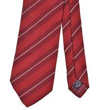Giorgio Armani Made in ITALY Red Burgundy Ribbed Bar Stripe Silk Tie
