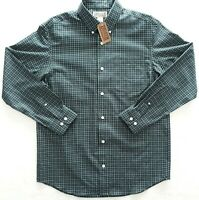Duluth Trading Co Men's Button Up/Down Shirt Plaid Green No Iron Twill - Medium