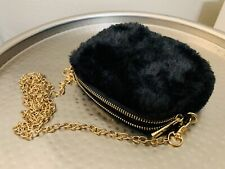NWOT Forever 21 Black Faux Fur Mini Crossbody Bag Gold Chain