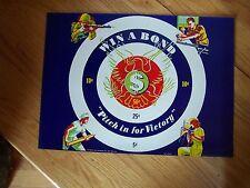 RARE*WW II War  Bonds Poster - WIN A BOND TARGET* COPYRIGHT 1943