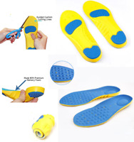 Ladies Memory Foam Support Orthotics Arch Shoe Insoles Blue Pads UK Size 2-5