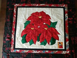 """Christmas Poinsettia Quilt Wall Hanging 41"""" x 37"""",  Machine Quilted"""