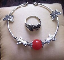 Tibetan Silver Bracelet & Butterfly Ring - Perfect Gift Set